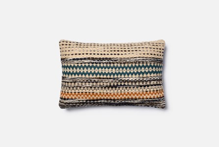 Accent Pillow-Magnolia Home Patchwork Stripes Orange/Blue 13X21 By Joanna Gaines