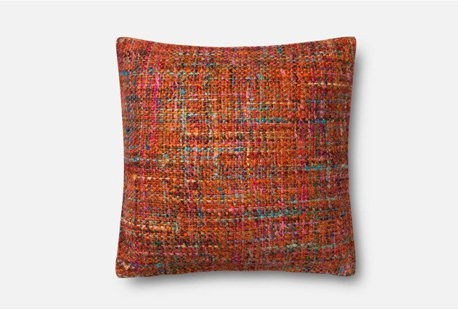Accent Pillow-Magnolia Home Viscose Tweed Orange 22X22 By Joanna Gaines - 360