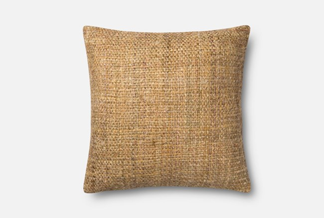 Accent Pillow-Magnolia Home Viscose Tweed Yellow 22X22 By Joanna Gaines - 360
