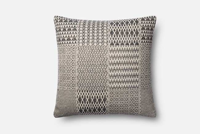 Accent Pillow-Magnolia Home Diamond Patchwork Black/White 22X22 By Joanna Gaines - 360