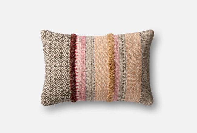 Accent Pillow-Magnolia Home Boho Boucle Pink/Beige 13X21 By Joanna Gaines - 360