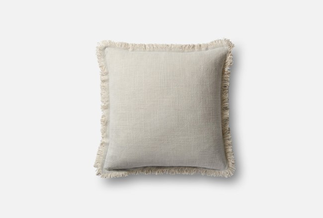 Accent Pillow-Magnolia Home Linen Fringe Grey/Slate 18X18 By Joanna Gaines - 360