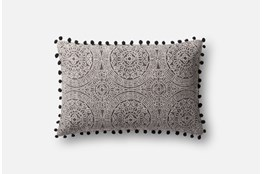 Accent Pillow-Magnolia Home Medallion Ball Fringe Black 13X21 By Joanna Gaines