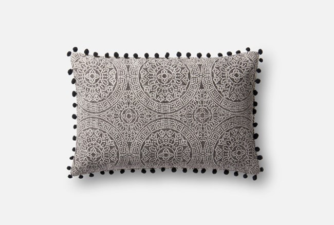 Accent Pillow-Magnolia Home Medallion Ball Fringe Black 13X21 By Joanna Gaines - 360