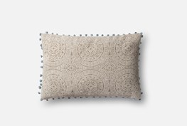 Accent Pillow-Magnolia Home Medallion Ball Fringe Grey/Slate 13X21 By Joanna Gaines