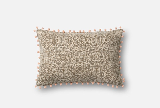Accent Pillow-Magnolia Home Medallion Ball Fringe Taupe/Pink 13X21 By Joanna Gaines - 360