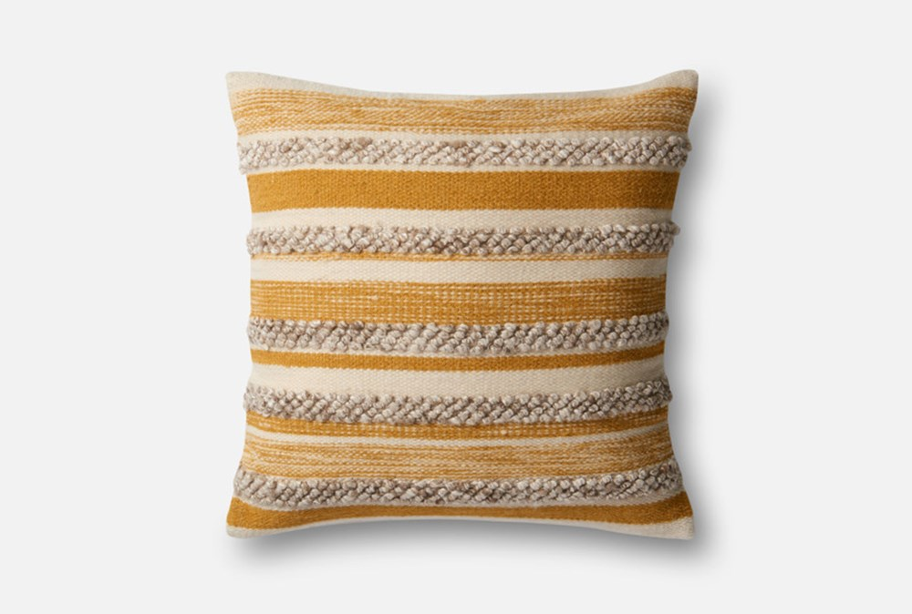Accent Pillow-Magnolia Home Textured Stripes Gold/Ivory 22X22 By Joanna Gaines