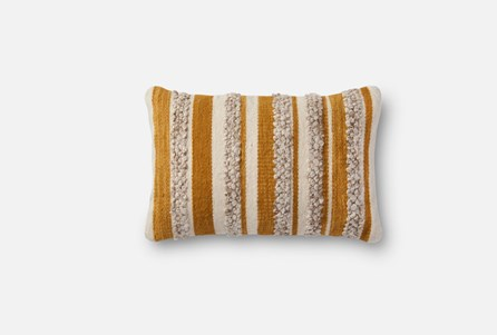 Accent Pillow-Magnolia Home Textured Stripes Gold/Ivory 13X21 By Joanna Gaines