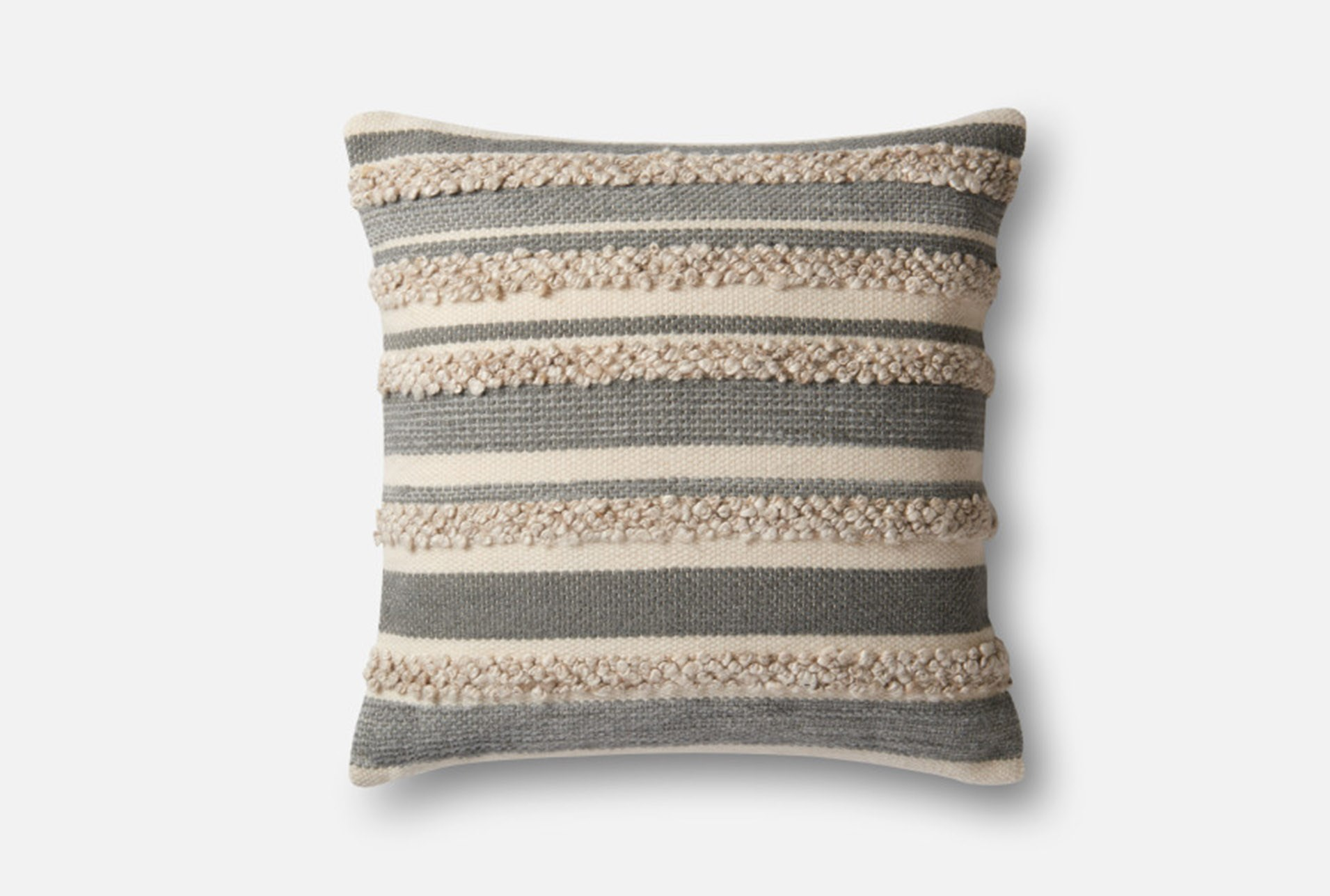 Accent Pillow Magnolia Home Textured Stripes Grey Ivory