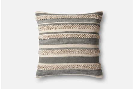 Accent Pillow-Magnolia Home Textured Stripes Grey/Ivory 22X22 By Joanna Gaines - Main
