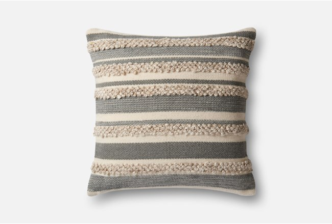 Accent Pillow-Magnolia Home Textured Stripes Grey/Ivory 22X22 By Joanna Gaines - 360