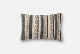 Accent Pillow-Magnolia Home Textured Stripes Grey/Ivory 13X21 By Joanna Gaines