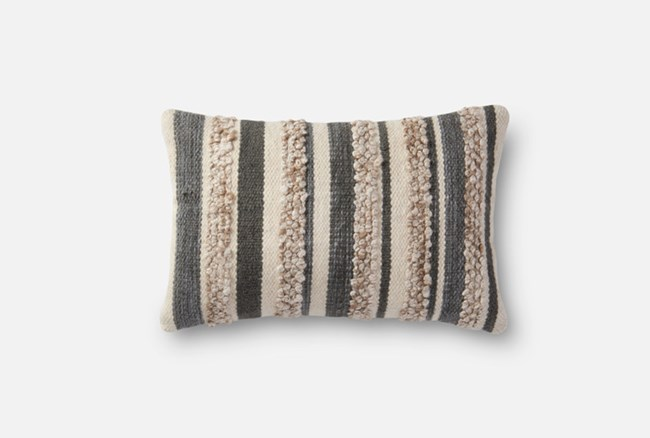 Accent Pillow-Magnolia Home Textured Stripes Grey/Ivory 13X21 By Joanna Gaines - 360