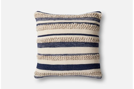 Accent Pillow-Magnolia Home Textured Stripes Navy/Ivory 22X22 By Joanna Gaines