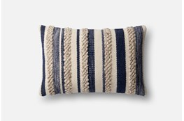 Accent Pillow-Magnolia Home Textured Stripes Navy/Ivory 13X21 By Joanna Gaines