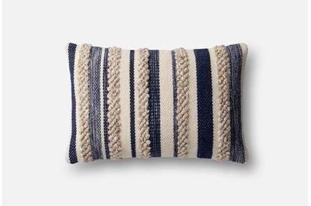 Accent Pillow-Magnolia Home Textured Stripes Navy/Ivory 13X21 By Joanna Gaines - Main