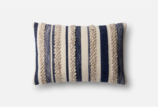 Accent Pillow-Magnolia Home Textured Stripes Navy/Ivory 13X21 By Joanna Gaines - 360