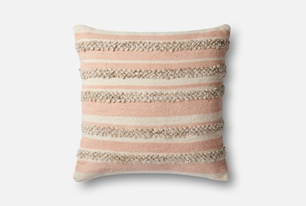 Accent Pillow-Magnolia Home Textured Stripes Pink/Ivory 22X22 By Joanna Gaines