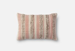 Accent Pillow-Magnolia Home Textured Stripes Pink/Ivory 13X21 By Joanna Gaines