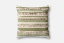 Accent Pillow-Magnolia Home Textured Stripes Sage/Ivory 22X22 By Joanna Gaines