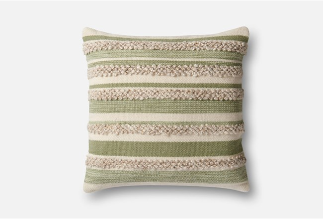 Accent Pillow-Magnolia Home Textured Stripes Sage/Ivory 22X22 By Joanna Gaines - 360