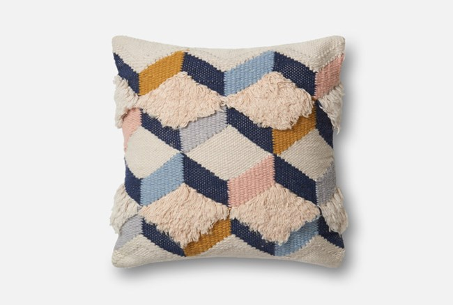 Accent Pillow-Magnolia Home Boucle Harlequin Navy/Pink 22X22 By Joanna Gaines - 360