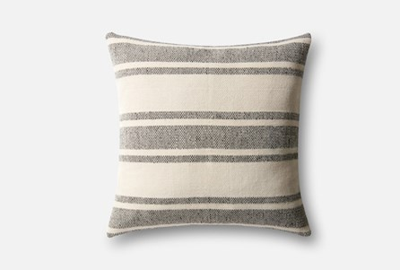 Accent Pillow-Magnolia Home Poly Stripe Black/Ivory 22X22 By Joanna Gaines