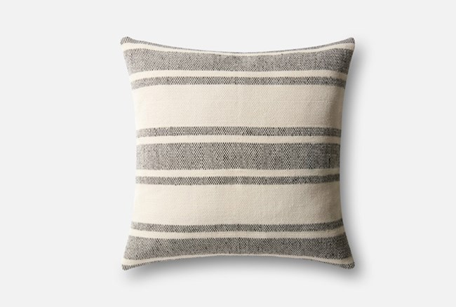 Accent Pillow-Magnolia Home Poly Stripe Black/Ivory 22X22 By Joanna Gaines - 360