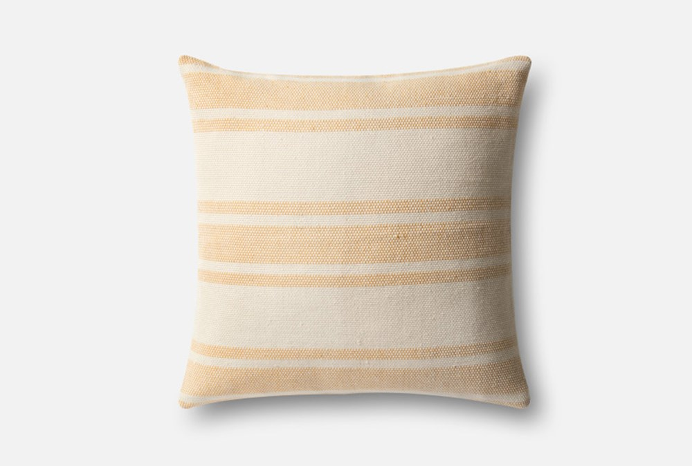 Accent Pillow-Magnolia Home Poly Stripe Gold/Ivory 22X22 By Joanna Gaines