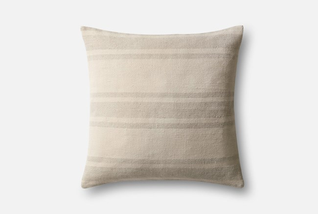 Accent Pillow-Magnolia Home Poly Stripe Natural/Ivory 22X22 By Joanna Gaines - 360
