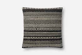 Accent Pillow-Magnolia Home Black/Ivory Variated Stripes 22X22 By Joanna Gaines