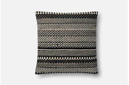 Accent Pillow-Magnolia Home Black/Ivory Variated Stripes 22X22 By Joanna Gaines - Main