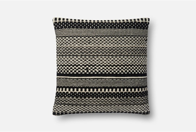 Accent Pillow-Magnolia Home Black/Ivory Variated Stripes 22X22 By Joanna Gaines - 360
