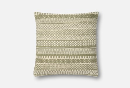 Accent Pillow-Magnolia Home Variated Stripes Sage/Ivory 22X22 By Joanna Gaines