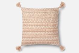 Accent Pillow-Magnolia Home Chevron Stripe Tassels Blush 22X22 By Joanna Gaines