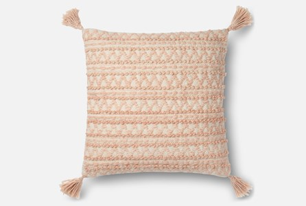 Accent Pillow-Magnolia Home Chevron Stripe Tassels Blush 22X22 By Joanna Gaines
