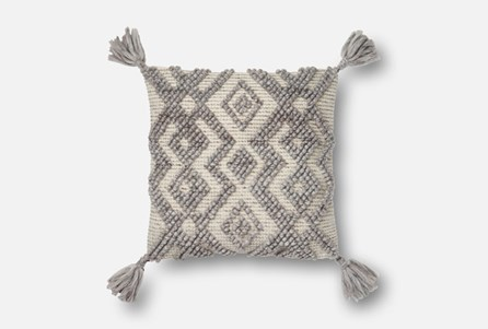 Accent Pillow-Magnolia Home Knotted Zig Zag Tassels Grey 18X18 By Joanna Gaines