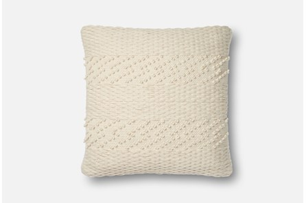 Accent Pillow-Magnolia Home Tonal Stripe Ivory 22X22 By Joanna Gaines - Main