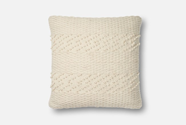 Accent Pillow-Magnolia Home Tonal Stripe Ivory 22X22 By Joanna Gaines - 360