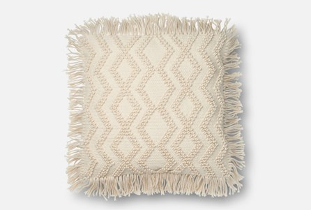 Accent Pillow-Magnolia Home Ivory Chevron Tassels 22X22 By Joanna Gaines