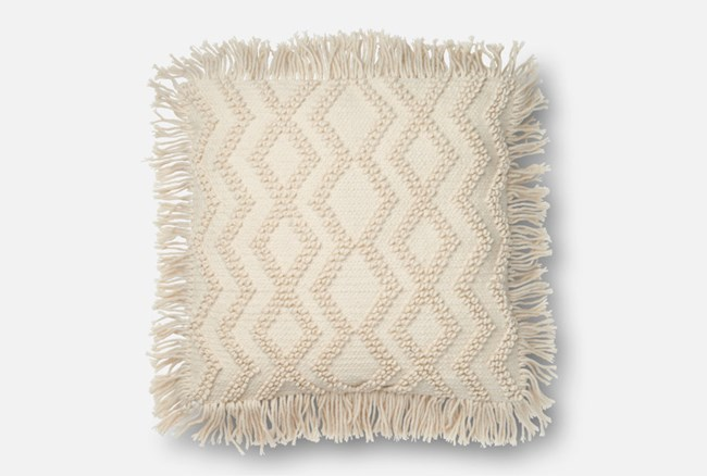 Accent Pillow-Magnolia Home Ivory Chevron Tassels 22X22 By Joanna Gaines - 360