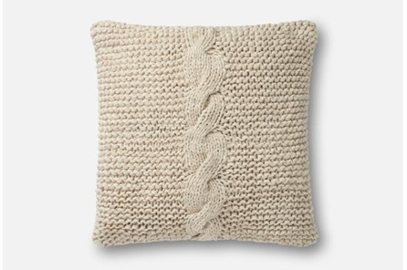 Accent Pillow-Magnolia Home Cableknit Beige 18X18 By Joanna Gaines