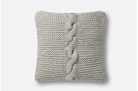 Accent Pillow-Magnolia Home Cableknit Grey 18X18 By Joanna Gaines