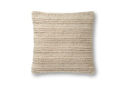 Accent Pillow-Magnolia Home Cableknit Stripe Beige 22X22 By Joanna Gaines