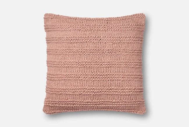Accent Pillow-Magnolia Home Cableknit Stripe Blush 22X22 By Joanna Gaines - 360