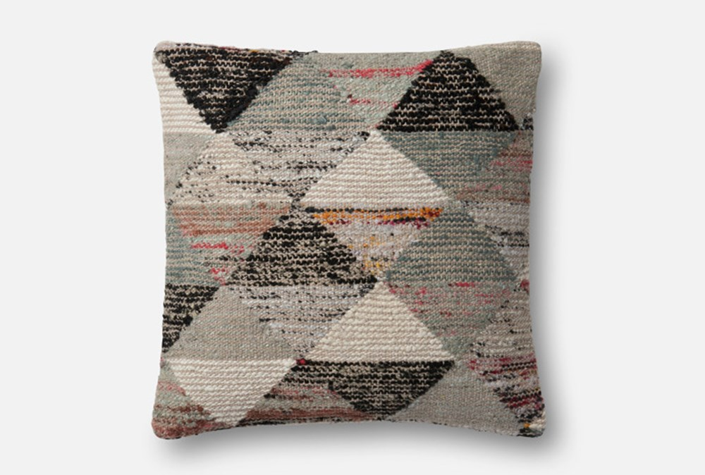 Accent Pillow-Magnolia Home Distressed Harlequin Grey/Multi 22X22 By Joanna Gaines