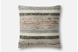 Accent Pillow-Magnolia Home Distressed Stripes Grey/Multi 22X22 By Joanna Gaines