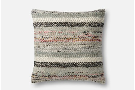 Accent Pillow-Magnolia Home Distressed Stripes Grey/Multi 22X22 By Joanna Gaines - Main