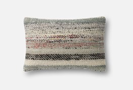 Accent Pillow-Magnolia Home Distressed Stripes Grey/Multi 13X21 By Joanna Gaines