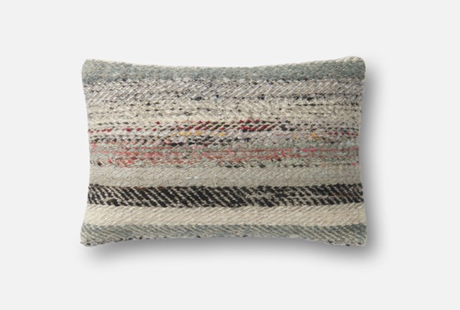 Accent Pillow-Magnolia Home Distressed Stripes Grey/Multi 13X21 By Joanna Gaines - 360
